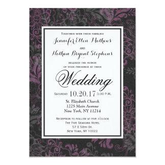 """Floral rosado, negro, y gris elegante elegante invitación 5"""" x 7"""""""