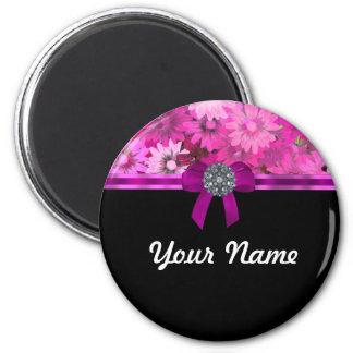 Floral rosado personalizado imán redondo 5 cm