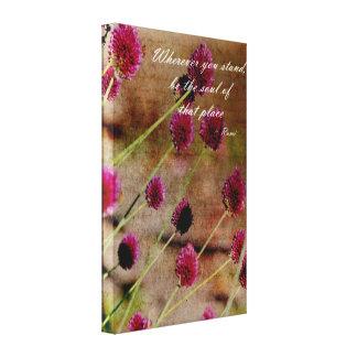 Floral rosado poético lienzo envuelto para galerías