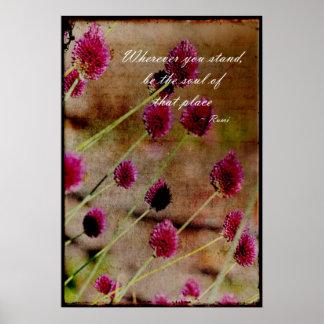 Floral rosado poético póster