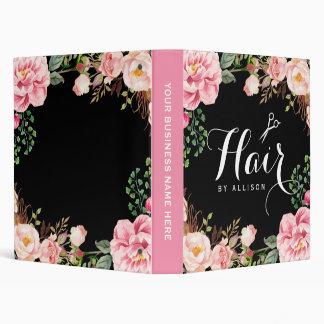 Floral rosado romántico del salón de belleza del 3 anillos carpetas
