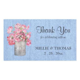 Floral rosado rústico en el boda azul de la tarjetas de visita