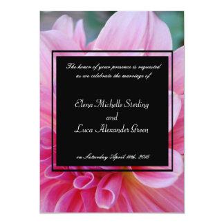 """Floral rosado y negro bonito invitación 5"""" x 7"""""""