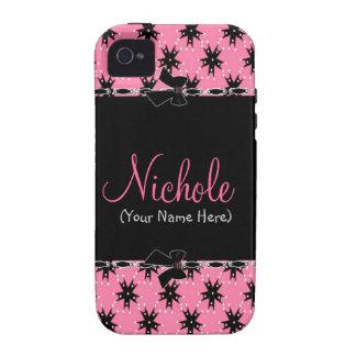 Floral rosado y negro femenino Case-Mate iPhone 4 carcasa