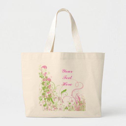 Floral rosado y verde elegante y remolinos bolsa tela grande