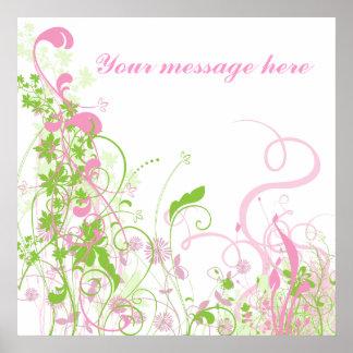 Floral rosado y verde elegante y remolinos póster