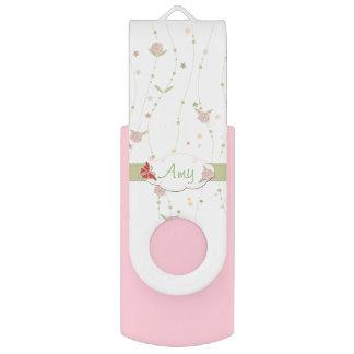 Floral rosado y verde femenino personalizado memoria USB 2.0 giratoria
