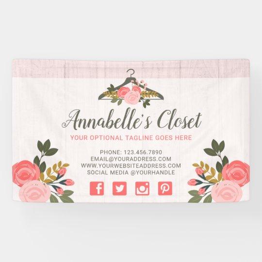 Floral Rose Clothes Hanger Closet Fashion Boutique Banner