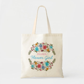 Floral Rose Flower Girl with Name Tote Bag