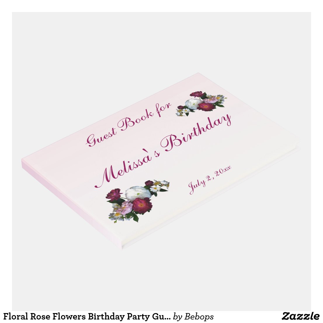 Floral Rose Flowers Birthday Party Guest Book