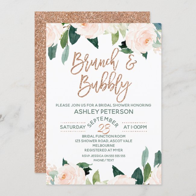 Floral Rose Gold Brunch Bubbly Bridal Invitation