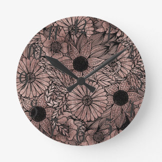 Floral Rose Gold Flowers and Leaves Drawing Black Round Clock