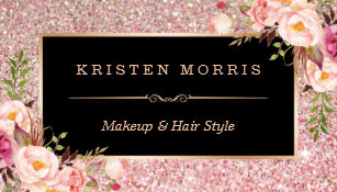 Salon business cards templates zazzle floral rose gold glitter makeup artist hair salon business card colourmoves