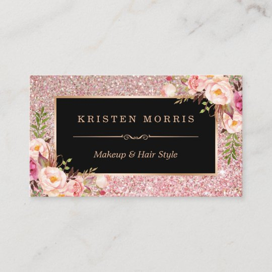 Floral rose gold glitter makeup artist hair salon business card floral rose gold glitter makeup artist hair salon business card colourmoves