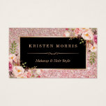 """Floral Rose Gold Glitter Makeup Artist Hair Salon Business Card<br><div class=""""desc"""">Make a great impression with this stylish &quot;Floral Rose Gold Glitter&quot; Business Card for your Beauty Salon. Create yours today! (1) For further customization, please click the &quot;Customize&quot; button and use our design tool to modify this template. All text style, colors, sizes can be modified to fit your needs. (2)...</div>"""