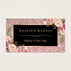 Floral Rose Gold Glitter Makeup Artist Hair Salon Business Card at Zazzle