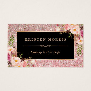Salon business cards templates zazzle floral rose gold glitter makeup artist hair salon business card cheaphphosting Image collections