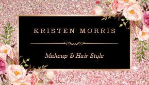 Salon business cards templates zazzle floral rose gold glitter makeup artist hair salon business card colourmoves