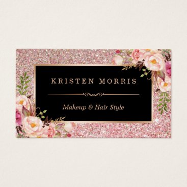 CardHunter Floral Rose Gold Glitter Makeup Artist Hair Salon Business Card