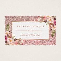 Floral Rose Gold Glitter Makeup Artist Hair Salon Business Card at Zazzle