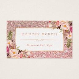 Floral Rose Gold Glitter Makeup Artist Hair Salon Business Card