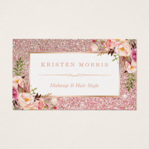 Hair and makeup business cards templates zazzle floral rose gold glitter makeup artist hair salon business card colourmoves Images