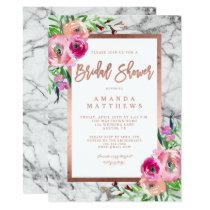 Floral Rose Gold Marble Wedding Bridal Shower Invitation