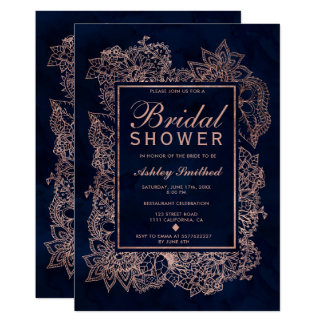 Floral rose gold navy watercolor bridal shower card