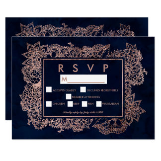 Floral rose gold navy watercolor RSVP wedding Card