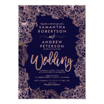 Floral rose Gold typography chic navy blue wedding Invitation