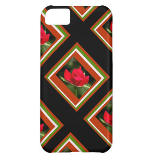 Floral, Rose Mosaics, Red Green Black & White Cover For iPhone 5C