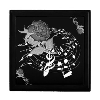 Floral Rose Music Note Gift Box