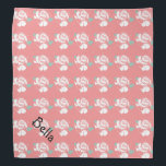 "Floral Rose Pattern White Pink Mint Art Petwear Bandana<br><div class=""desc"">Floral Rose Chevron Pattern White Pink Mint Art,  featuring a personalization pet name template.</div>"