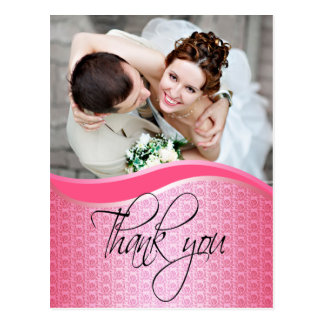 Floral rose photo wedding Thank You Card Post Card