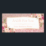 """Floral Rose Pink Glitter Gift Certificate Card<br><div class=""""desc"""">Floral Rose Pink Glitter Gift Certificate Card.  (1) For further customization,  please click the &quot;customize further&quot; link and use our design tool to modify this template.  (2) If you need help or matching items,  please contact me.</div>"""
