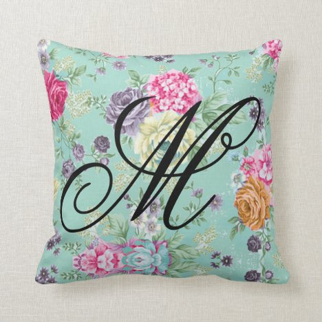 Floral Rose Pretty Blue Personal Initial Throw Pillow