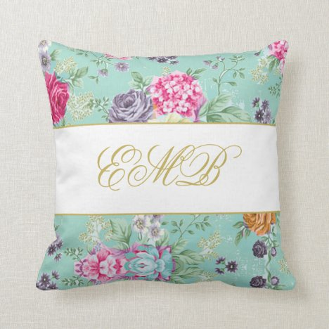 Floral Rose Pretty Blue Personal  Monogram Throw Pillow
