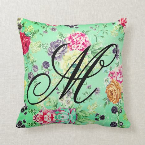 Floral Rose Pretty Green Personal Initial Throw Pillow