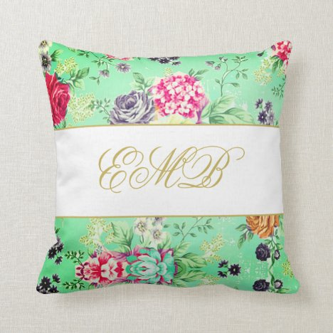 Floral Rose Pretty Personal  Monogram Throw Pillow