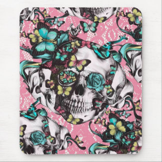 Floral rose skull with butterflies. mouse pad