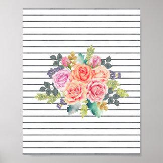 Floral Rose Watercolor Stripes Art Poster