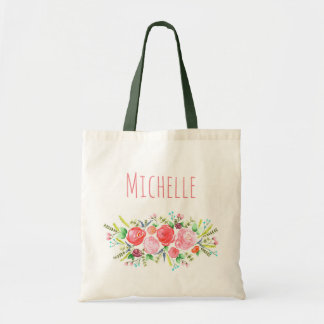 Floral Rose with Name Tote Bag