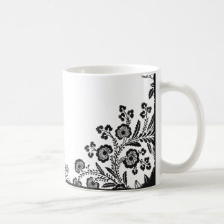 Floral roses branch rose flowers girly silhouette coffee mug