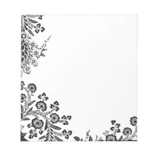 Floral roses branch rose flowers girly silhouette memo notepads