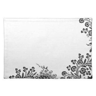 Floral roses branch rose flowers girly silhouette placemat