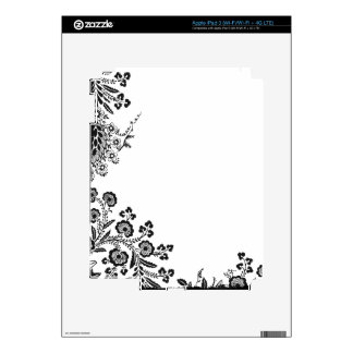 Floral roses branch rose flowers girly silhouette iPad 3 skin