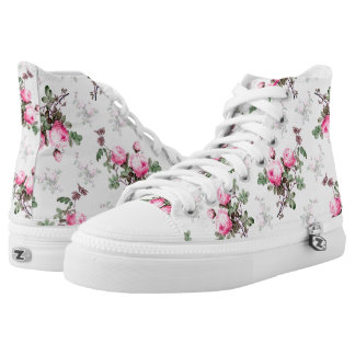 Floral roses canvas sneakers Pink flowers