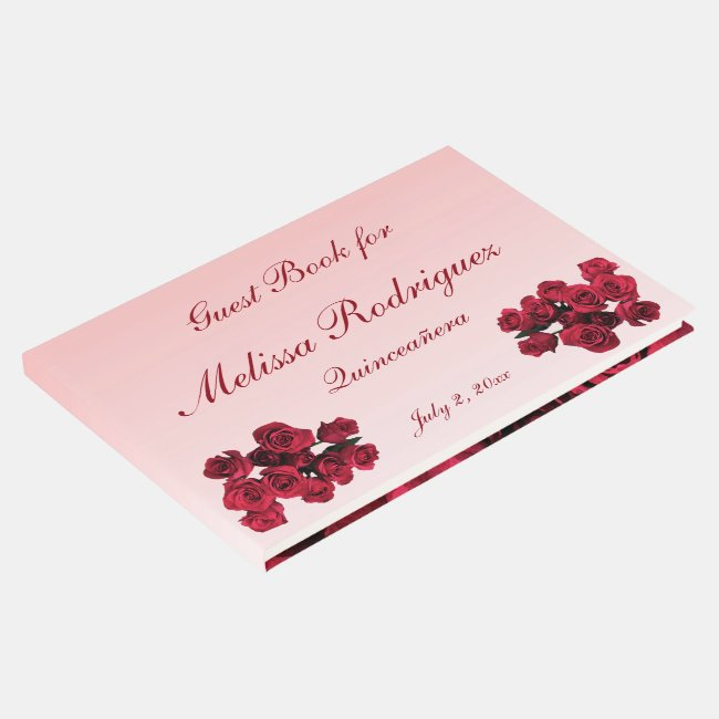 Floral Roses Garden Flowers Quinceanera Guest Book