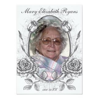 Floral Roses Memorial Bereavement Card Announcement