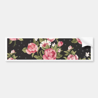 floral,roses,red,black,background,shabby chic,pink bumper sticker
